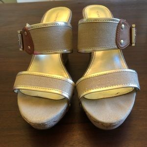 Tommy Hilfiger Gold/Tan Wedge Sandals